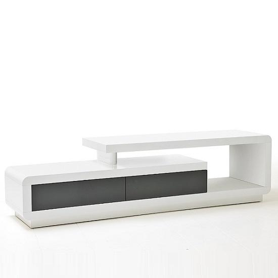 Celia High Gloss Plasma Tv Stand With 2 Drawer In Grey In 2017 Plasma Tv Stands (Image 7 of 20)