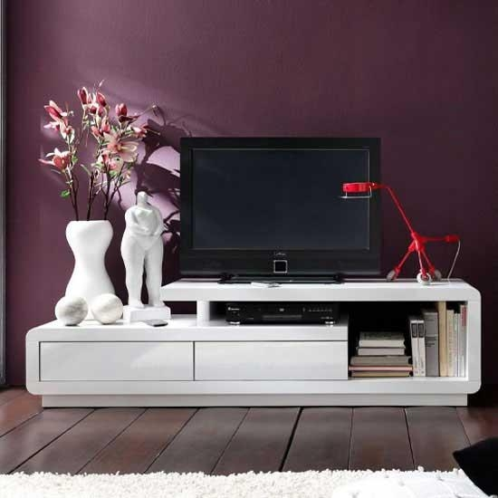 Celia High Gloss Plasma Tv Unit In White With Two Drawers Inside Most Recent White High Gloss Tv Unit (Image 5 of 20)