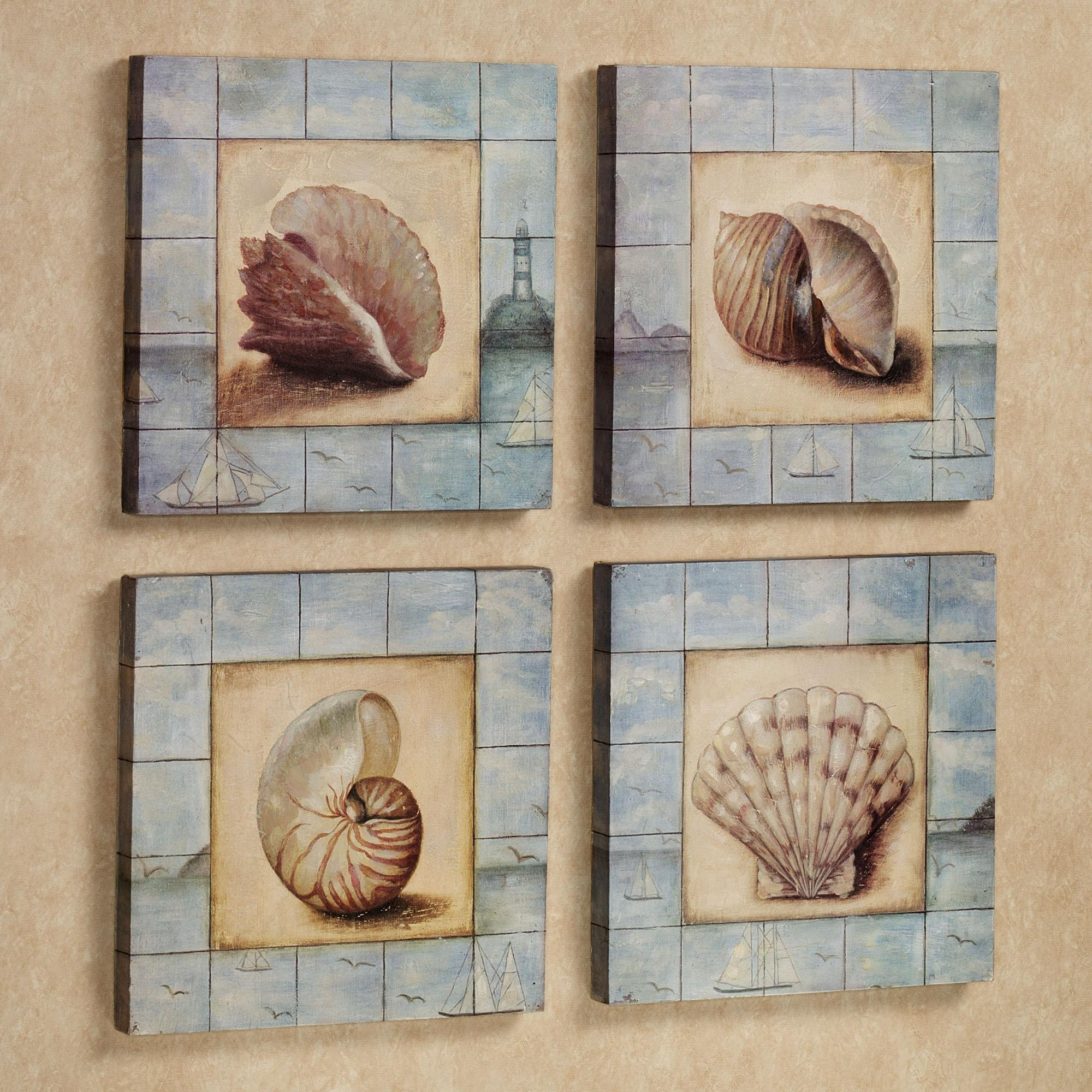 Ceramic Seashell Wall Decor : Make Nautical Wall With Seashell Regarding Seashell Prints Wall Art (View 2 of 20)