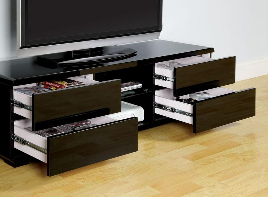 Cerro Black Lacquer Finish Tv Stand With Most Current Black Tv Stands With Drawers (Image 13 of 20)