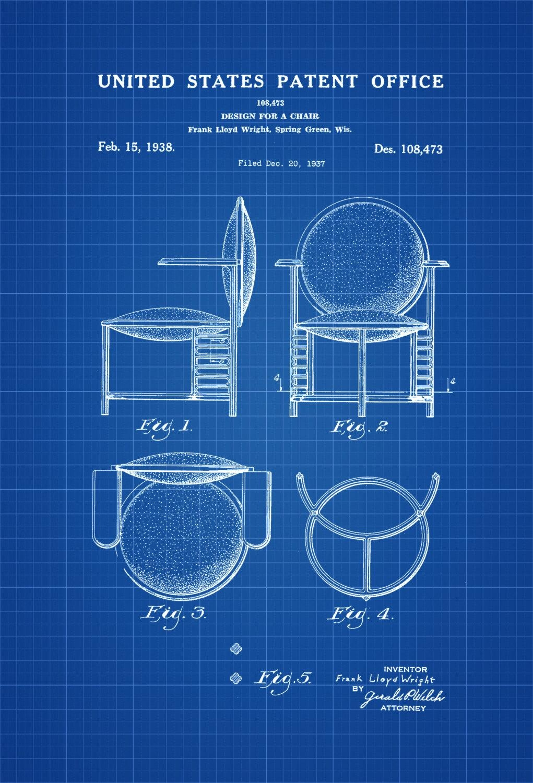 Chair Patent Print – Decor, Patent Print, Wall Decor, Frank Lloyd In Frank Lloyd Wright Wall Art (Image 4 of 20)