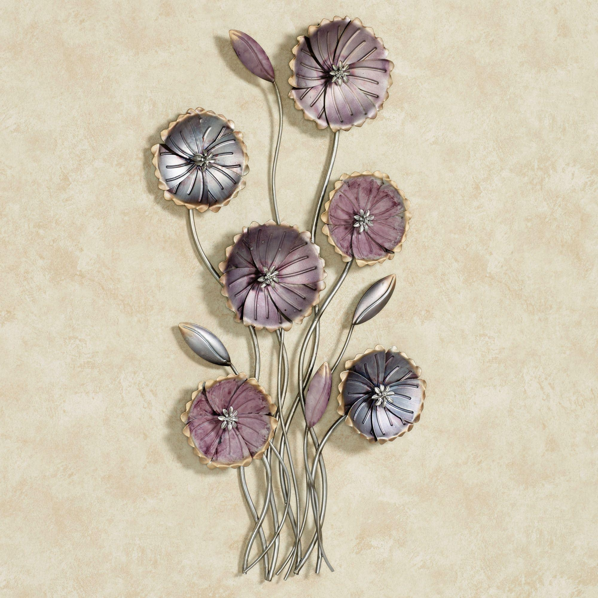 Charming Floral Array Purple Metal Wall Art With Regard To Purple Bathroom  Wall Art (Image