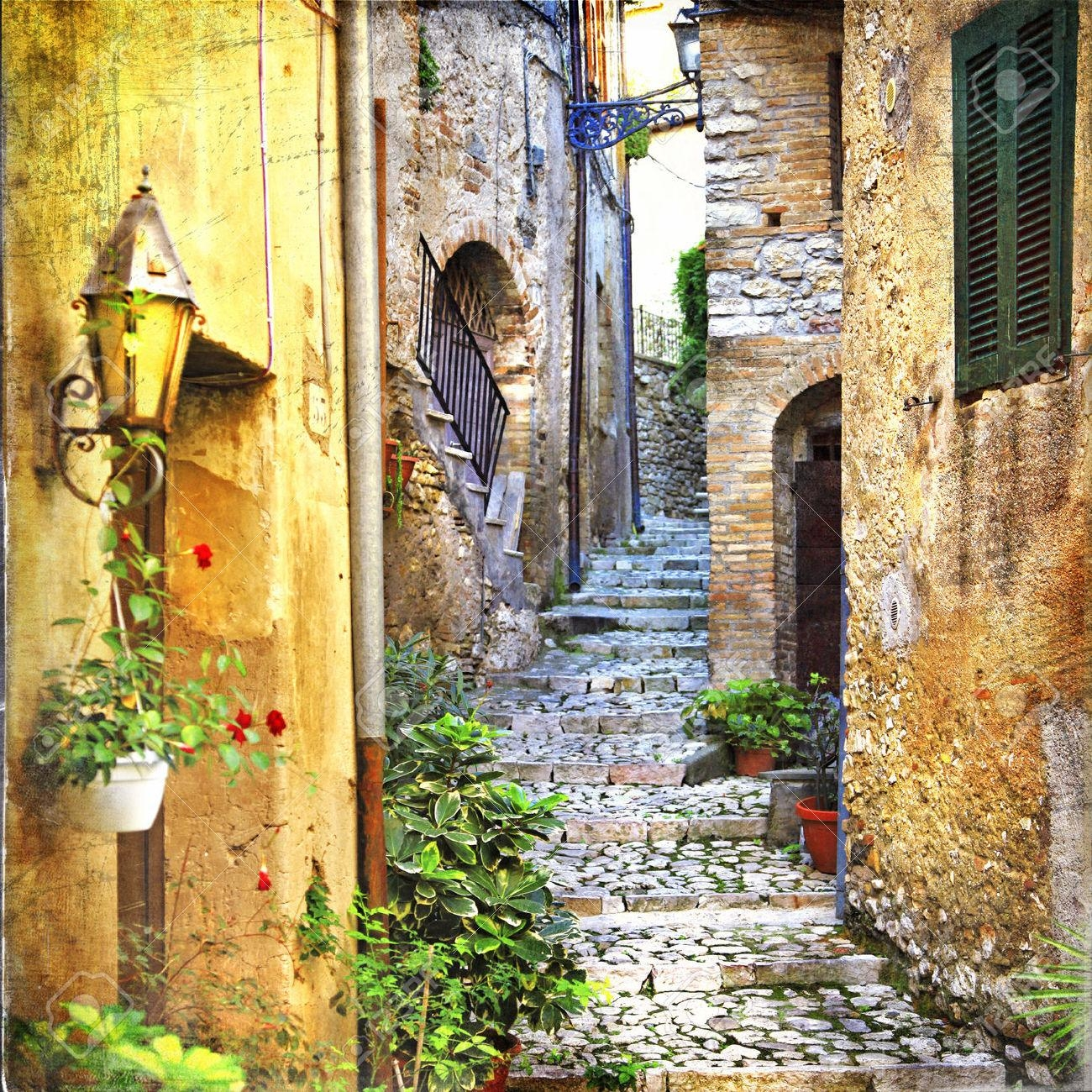 Charming Old Streets Of Italian Villages Stock Photo, Picture And With Regard To Italian Village Wall Art (View 6 of 20)