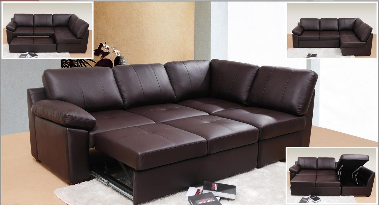 Cheap Brown Leather Sofas Uk | Centerfieldbar Throughout Sofas With Beds (Image 3 of 22)