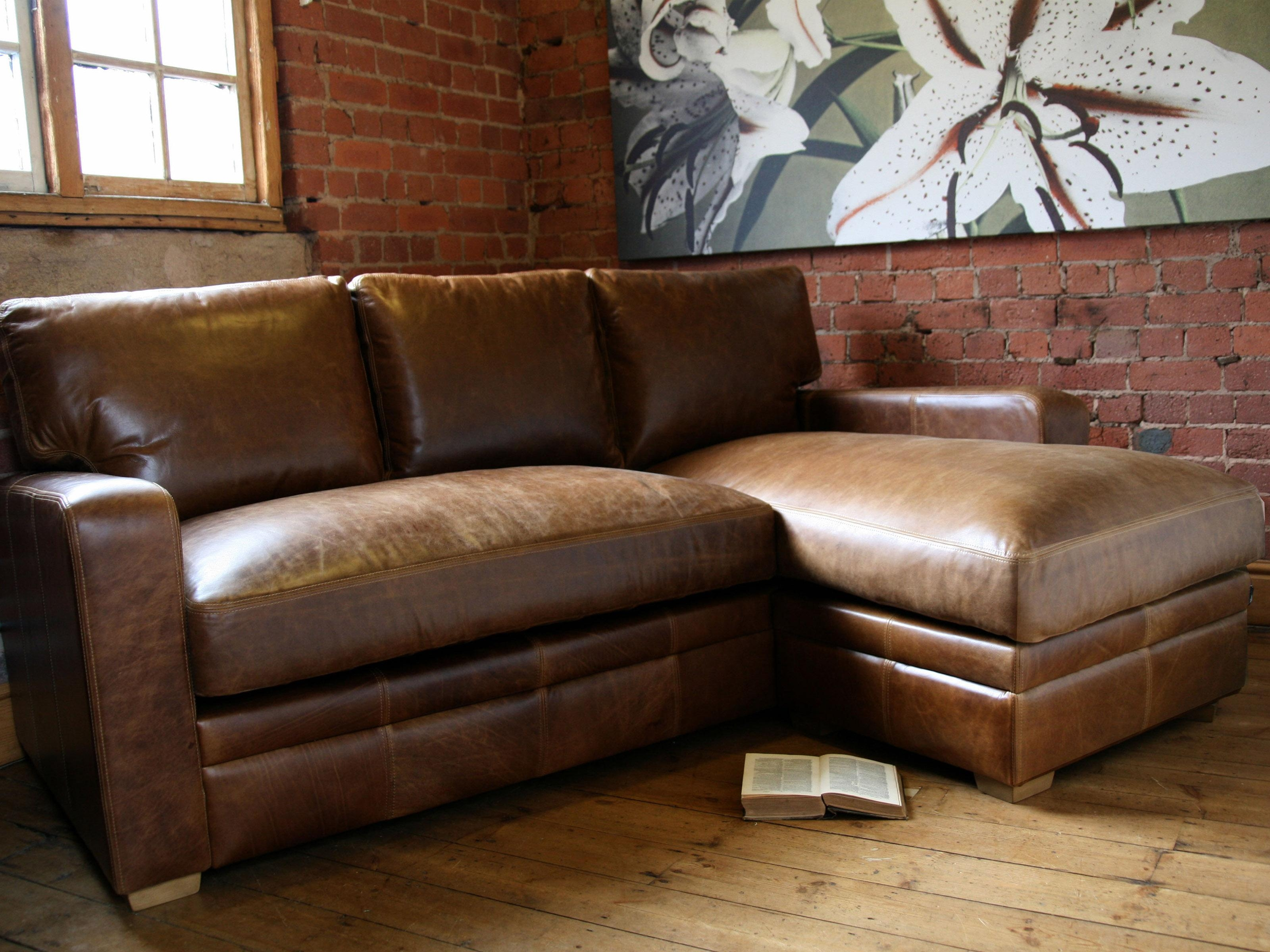 Cheap Brown Leather Sofas Uk | Centerfieldbar Within Vintage Leather Sofa Beds (Image 2 of 20)