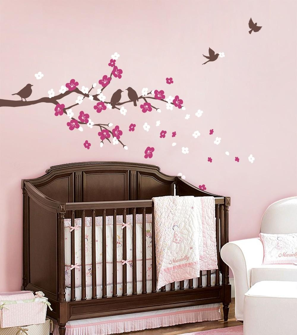 Cherry Blossom Branch With Birds Decal Pertaining To Cherry Blossom Vinyl Wall Art (View 11 of 20)