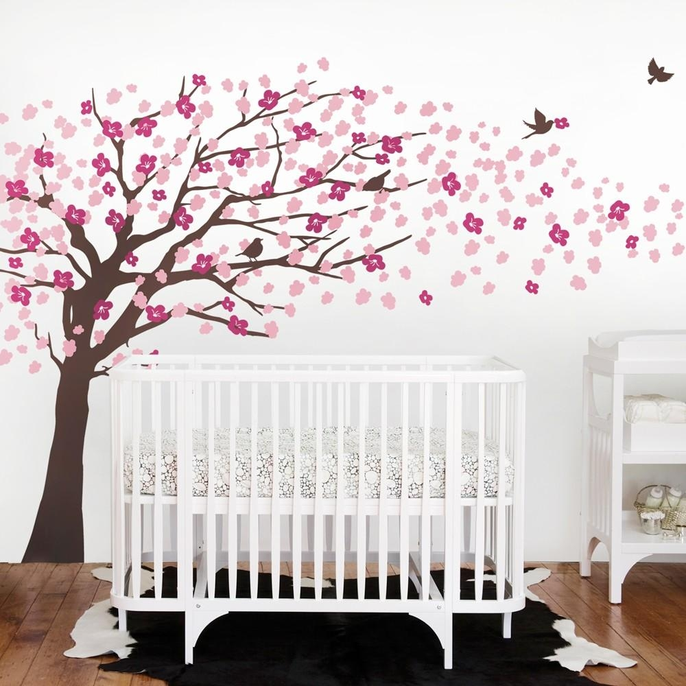 Cherry Blossom Tree Decal – Elegant Style – Scheme B Throughout Cherry Blossom Vinyl Wall Art (View 20 of 20)