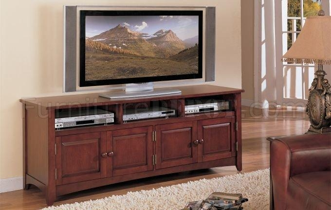 Cherry Finish Classic Plasma Or Lcd Tv Stand W/storage Cabinet With Regard To Best And Newest Classic Tv Stands (Image 3 of 20)