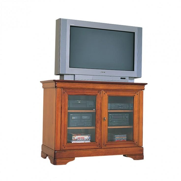 Cherry Square Tv Stand With Glass Doors | Gola Furniture Uk Inside Most Recently Released Square Tv Stands (Image 6 of 20)