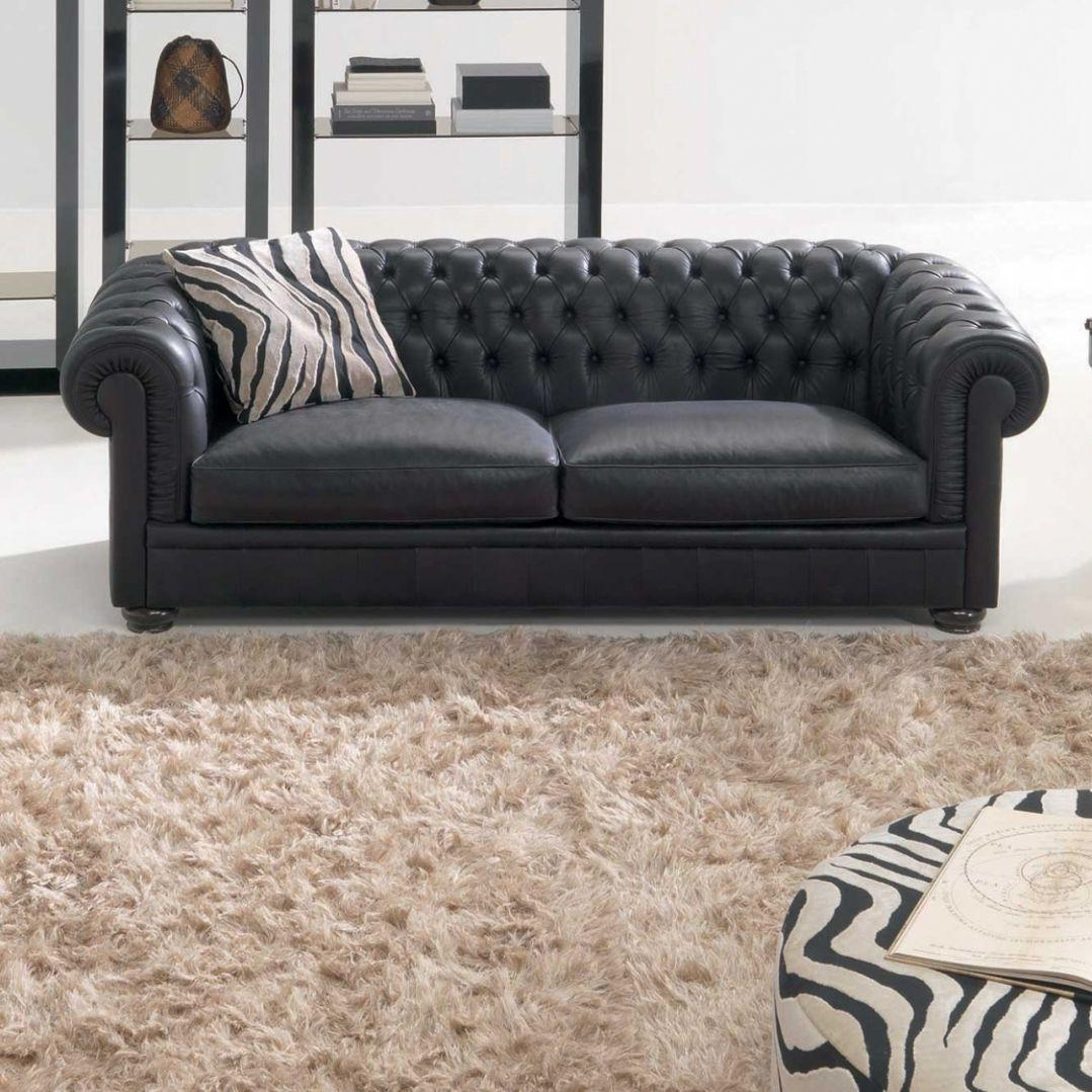 Chesterfield Sofa / Leather / 2 Seater / Black – King – Natuzzi For Chesterfield Black Sofas (Image 5 of 20)