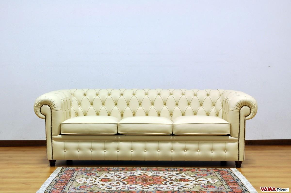 Chesterfield Sofa With Vintage Brass Plated Studs With Regard To Vintage Leather Sofa Beds (Image 4 of 20)