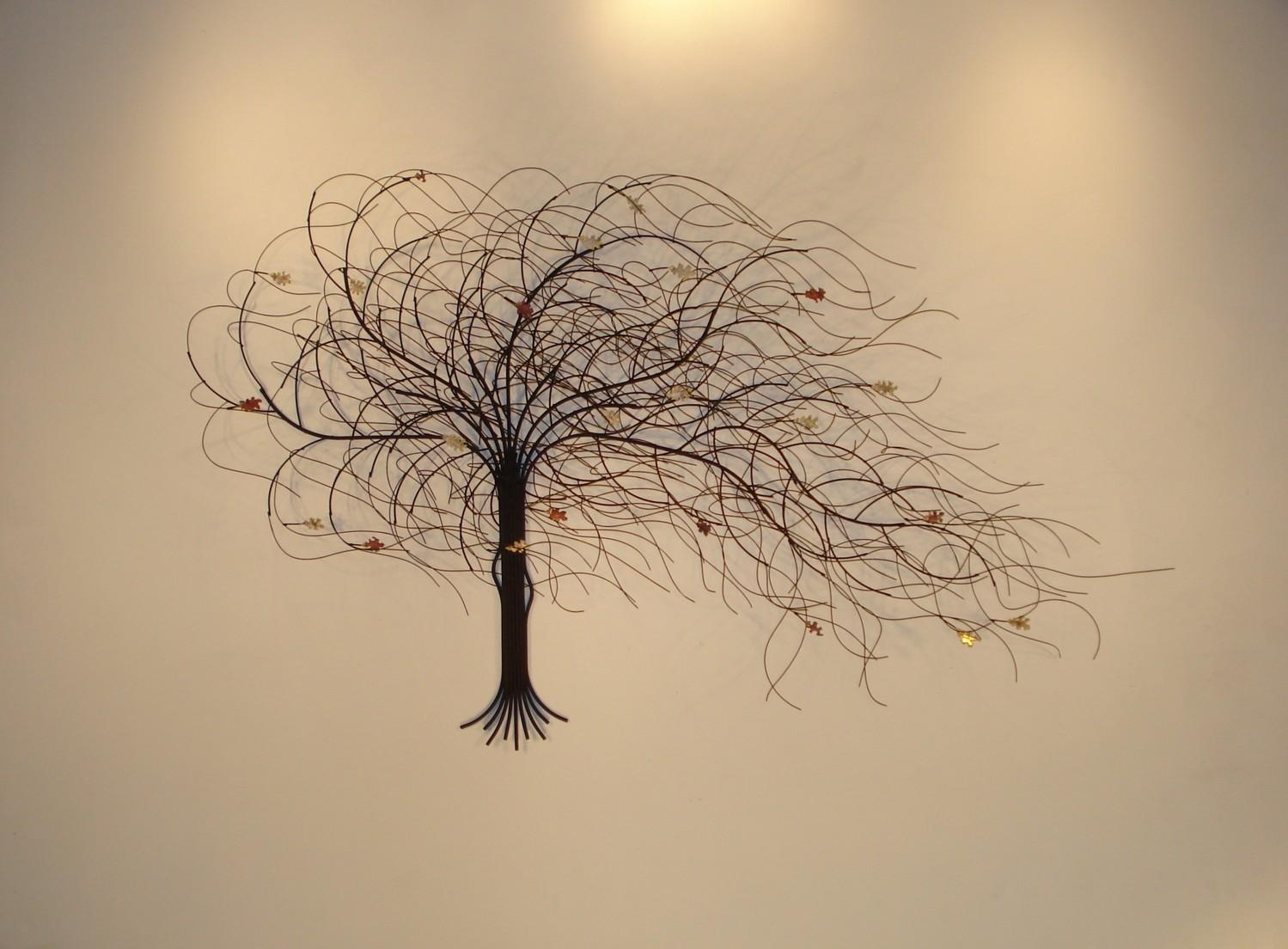Chic Metal Tree Wall Art Sculpture Spring Blossoms Metal Tree Pertaining To Copper Oak Tree Wall Art (Image 5 of 20)