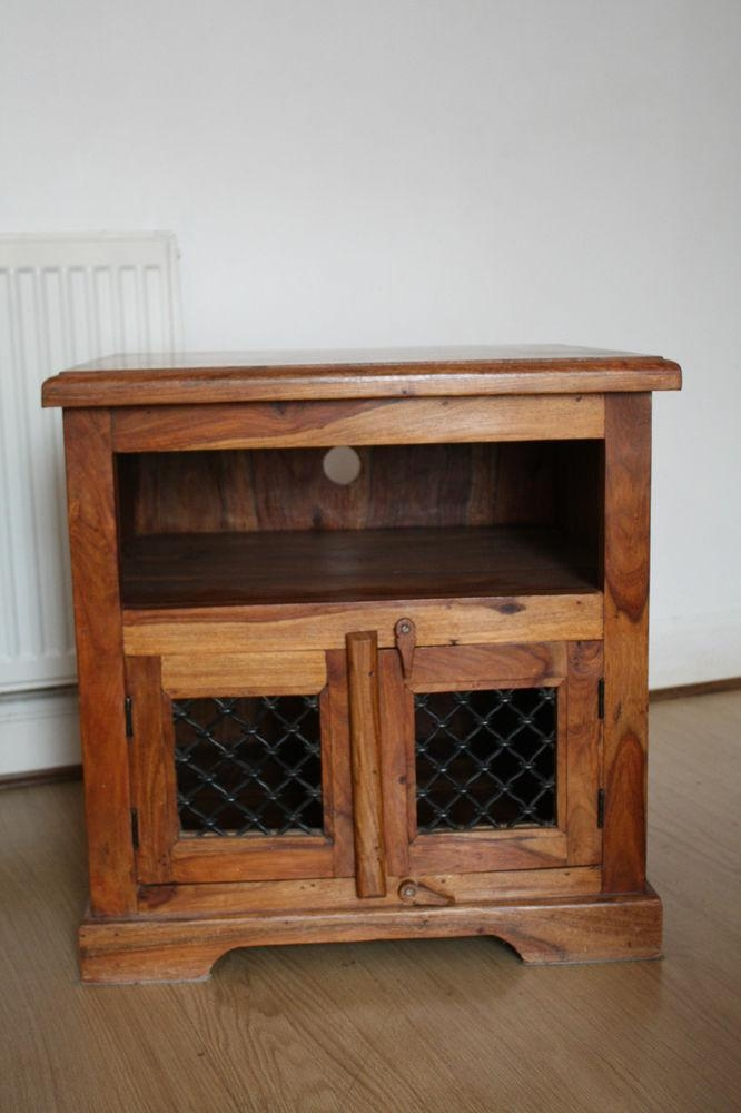 Chic Small Wooden Tv Cabinet Indian Wood Sheesham Jali Solid Small Regarding Recent Sheesham Wood Tv Stands (Image 1 of 20)