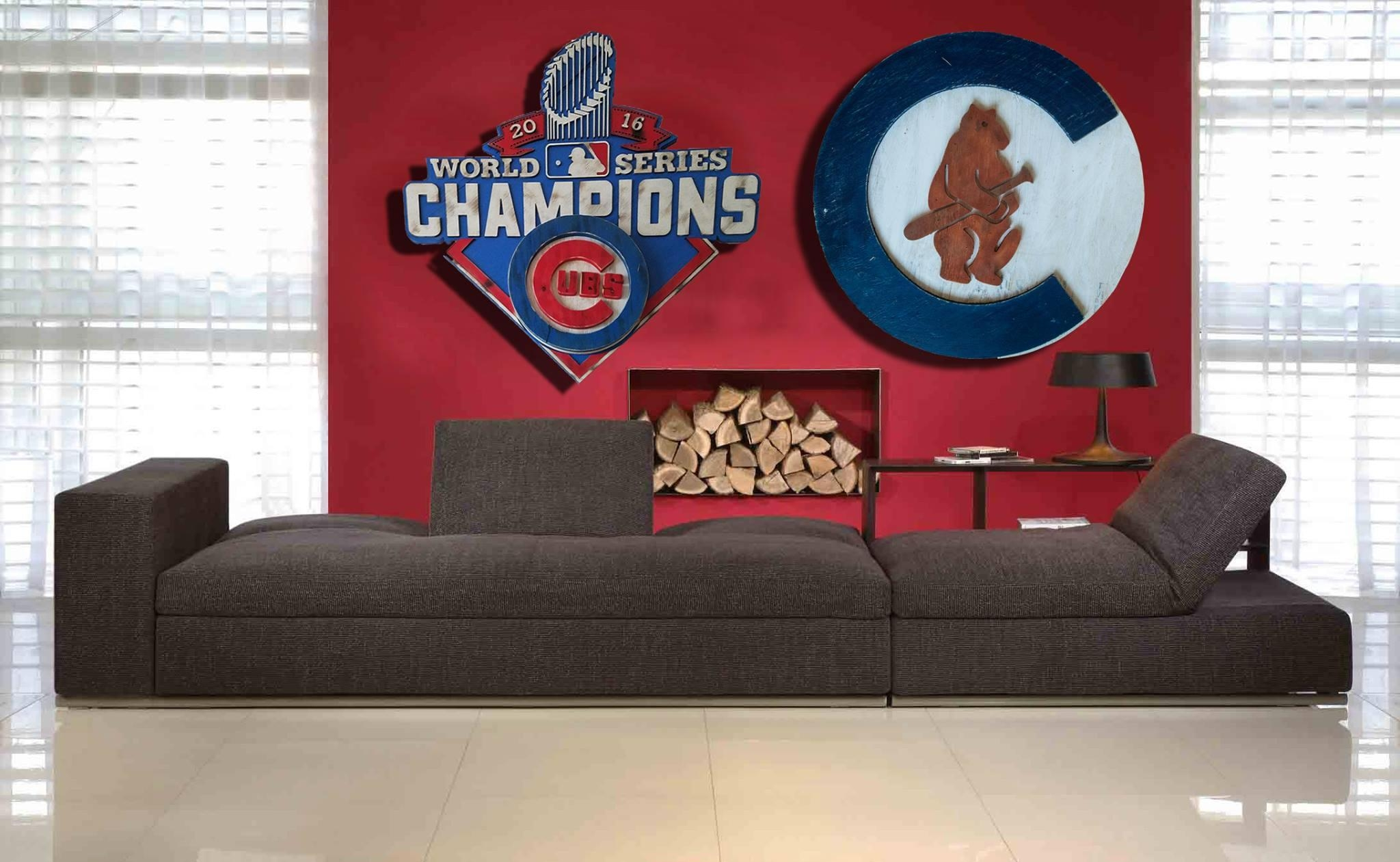 Chicago Cubs 1908 Logo Handmade Distressed Wood Sign, Vintage, Art Regarding Chicago Cubs Wall Art (View 14 of 20)