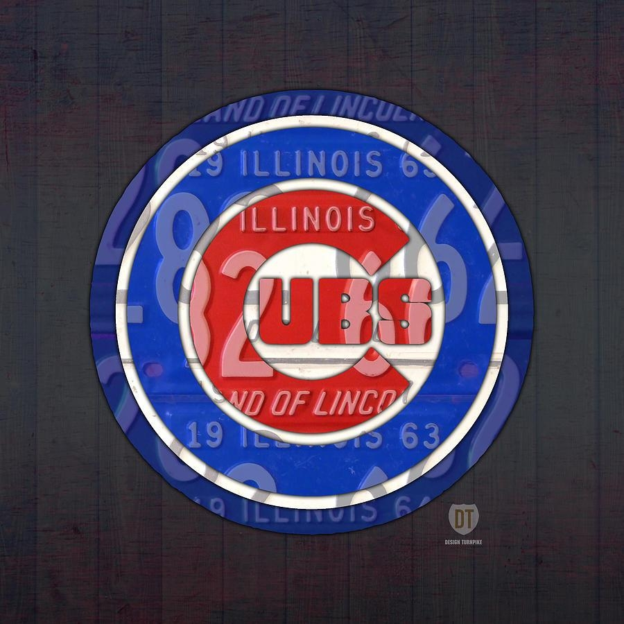 Chicago Cubs Baseball Team Retro Vintage Logo License Plate Art Throughout Chicago Cubs Wall Art (View 19 of 20)