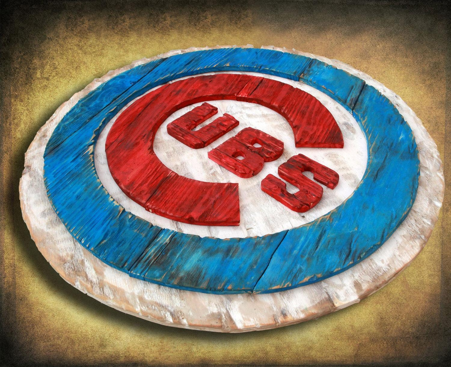 Chicago Cubs Handmade Distressed Wood Sign, Vintage, Art For Chicago Cubs Wall Art (View 5 of 20)