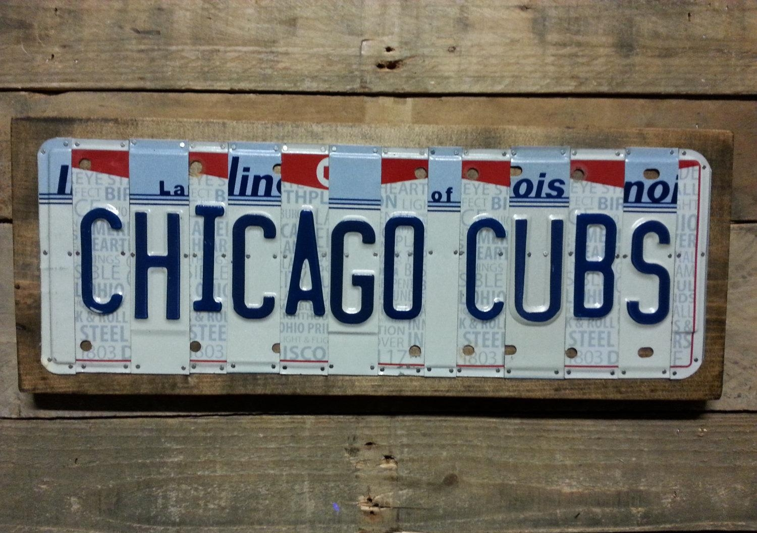 Chicago Cubs License Plate Sign – License Plate Wall Art – World Regarding Chicago Cubs Wall Art (View 13 of 20)