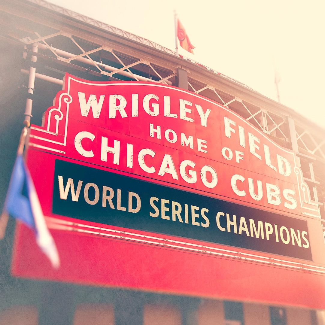 Chicago Cubs World Series Champions Wrigley Field Sign Wall Inside Chicago Cubs Wall Art (View 7 of 20)