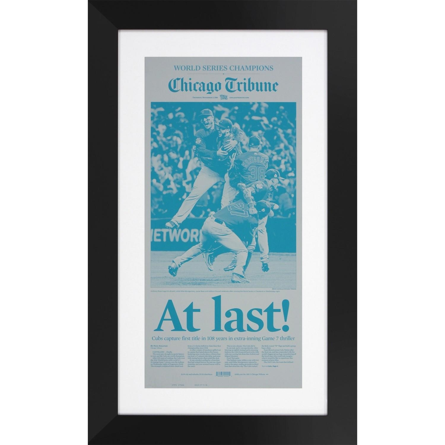 Chicago Tribune 11/3/2016 Chicago Cubs World Series Championship In Chicago Cubs Wall Art (View 18 of 20)