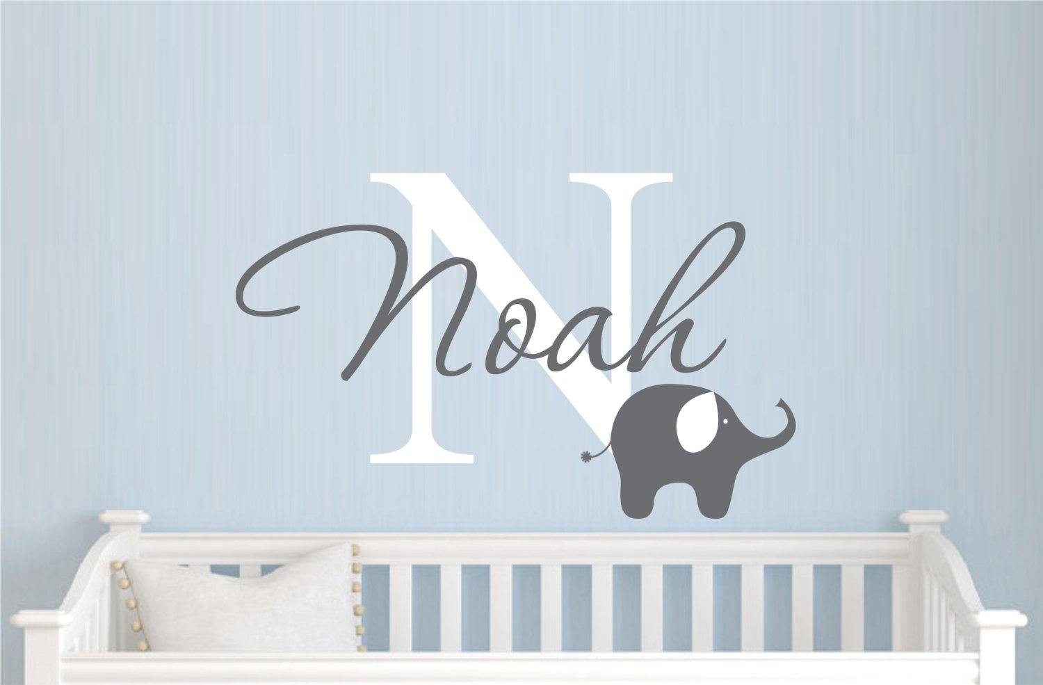 Childrens Name Elephant Wall Decal Boys Name Vinyl Wall In Elephant Wall Art For Nursery (Image 7 of 20)
