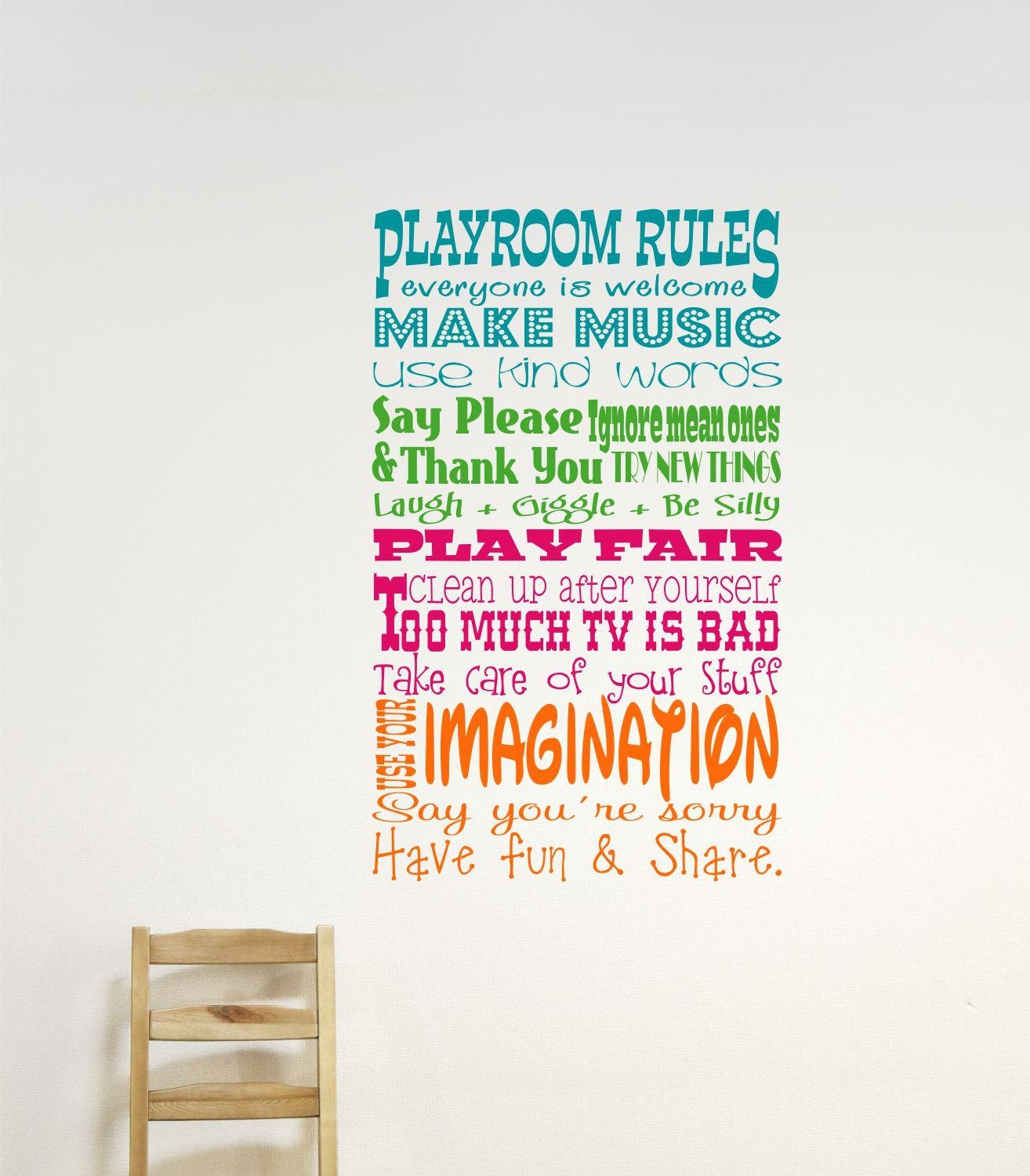 Childrens Wall Decor // Playroom Rules Wall Decal // Childrens Within Playroom Rules Wall Art (View 1 of 20)