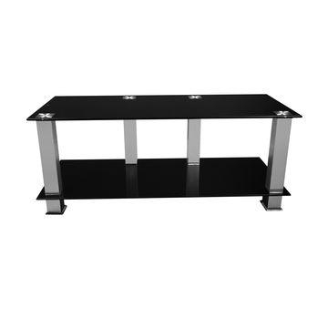 China Black Glass Tv Stands With Aluminum Square Tubes On Global For Newest Square Tv Stands (Image 7 of 20)