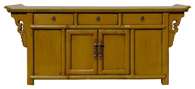 Chinese Mustard Yellow Green Low Credenza Tv Console Cabinet For Newest Yellow Tv Stands (Image 3 of 20)