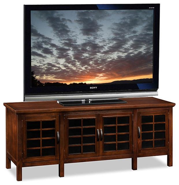 Chocolate And Black Glass Tv Stand – Transitional – Entertainment Within Most Current Black Tv Stand With Glass Doors (View 3 of 20)