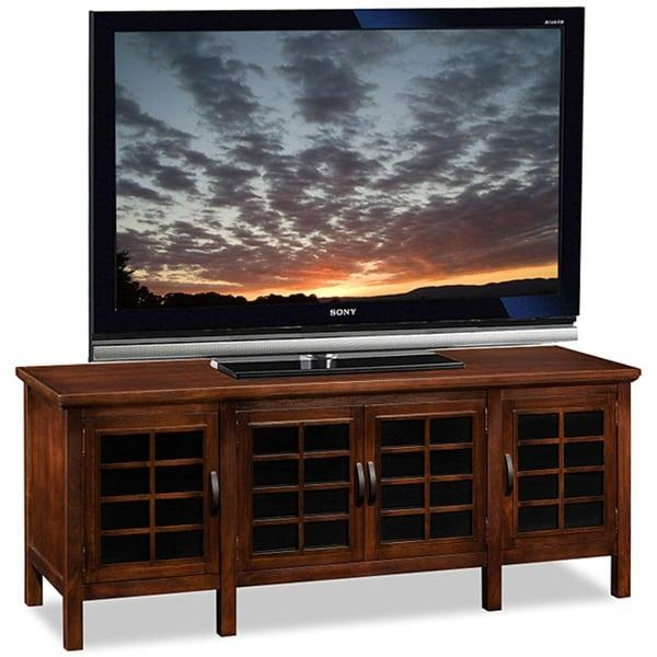 Chocolate/black Glass 60 Inch Tv Stand And Media Console – Free Regarding Latest Black Glass Tv Stands (Image 13 of 20)