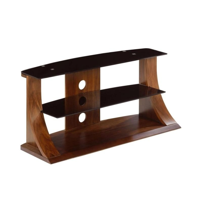 Choice Curved Walnut 1100 Tv Stand With Glass Shelves Regarding Most Recent Curve Tv Stands (View 11 of 20)