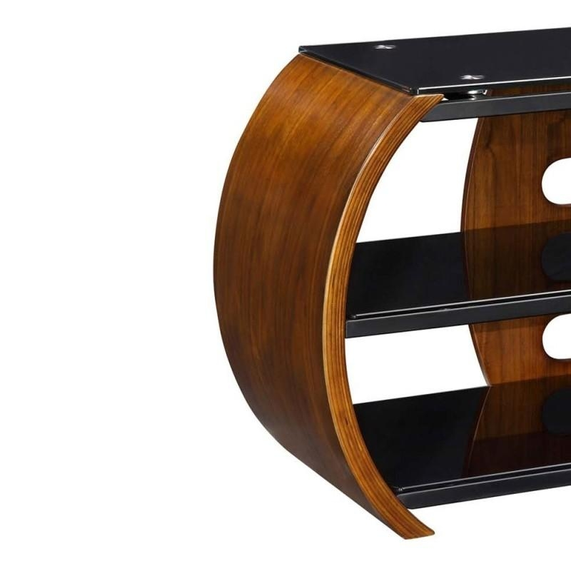 Choice Curved Walnut Open Tv Stand | Furniture4Yourhome For Most Recent Walnut Corner Tv Stands (View 14 of 20)