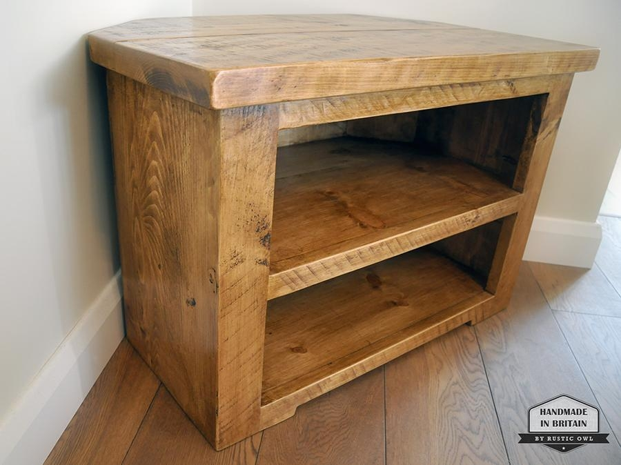 Chunky Corner Tv Stand | Rustic Owl With Regard To Most Up To Date Rustic Corner Tv Stands (Image 7 of 20)
