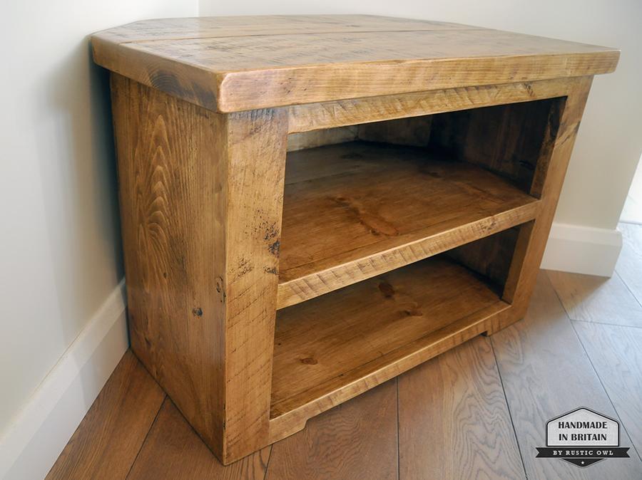 Chunky Corner Tv Stand | Rustic Owl With Regard To Most Up To Date Rustic Corner Tv Stands (View 6 of 20)