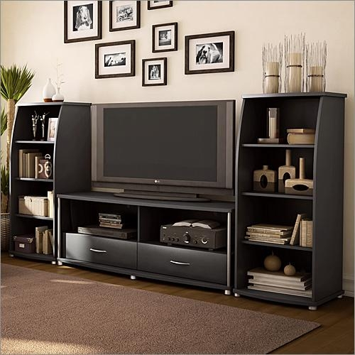 City Life 50 Inch Tv Stand In Solid Blacksouth Shore Furniture With 2017 Wooden Tv Stands For 50 Inch Tv (View 9 of 20)
