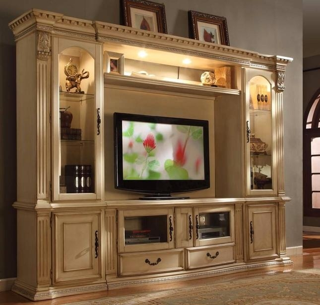 "Classic Antique White 62"" Tv Entertainment Center Wall Unit With Current Tv Entertainment Wall Units (Image 7 of 20)"
