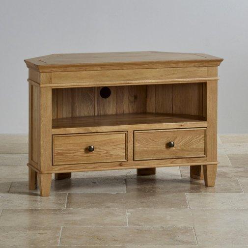 Classic Corner Tv Cabinet In Solid Oak | Oak Furniture Land For 2017 Oak Corner Tv Cabinets (View 12 of 20)