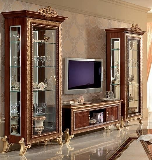 Classic Tv Cabinet With Side Display Cabinet, With Golden With Most Current Classic Tv Stands (Image 5 of 20)