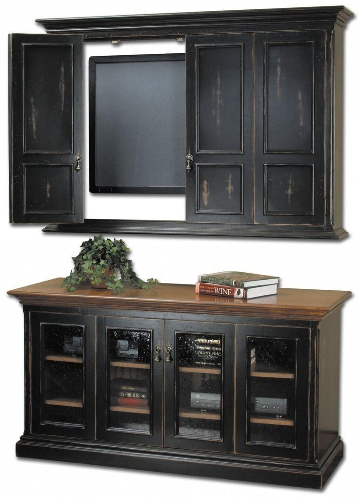 Classic Tv Cabinets With Doors For Tv Cabinets With Doors To Hide With Regard To 2017 Black Tv Stand With Glass Doors (View 19 of 20)