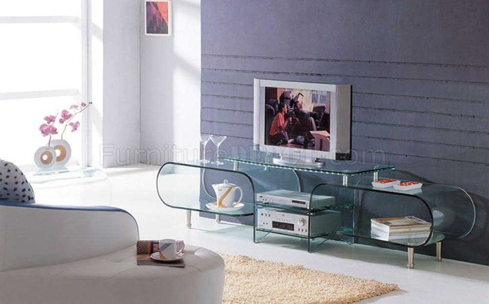 Clear Glass Modern Tv Stand W/storage Shelves With Regard To 2018 Clear Glass Tv Stand (Image 4 of 20)