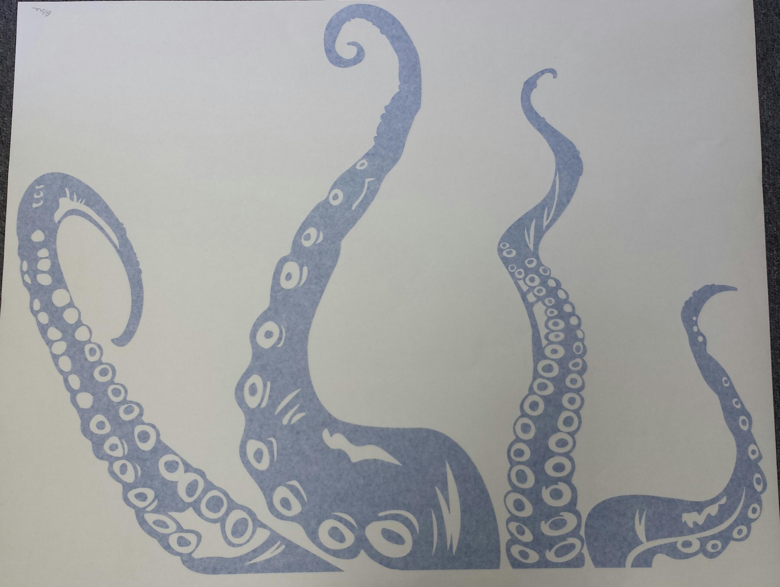 "Clearance] Blue 36"" Octopus Tentacles Wall Art Decal In Octopus Tentacle Wall Art (Image 6 of 20)"