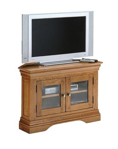 Clermont Oak Corner Tv Cabinet With Glass Doors – Oak Furniture In Current Corner Tv Unit With Glass Doors (View 11 of 20)