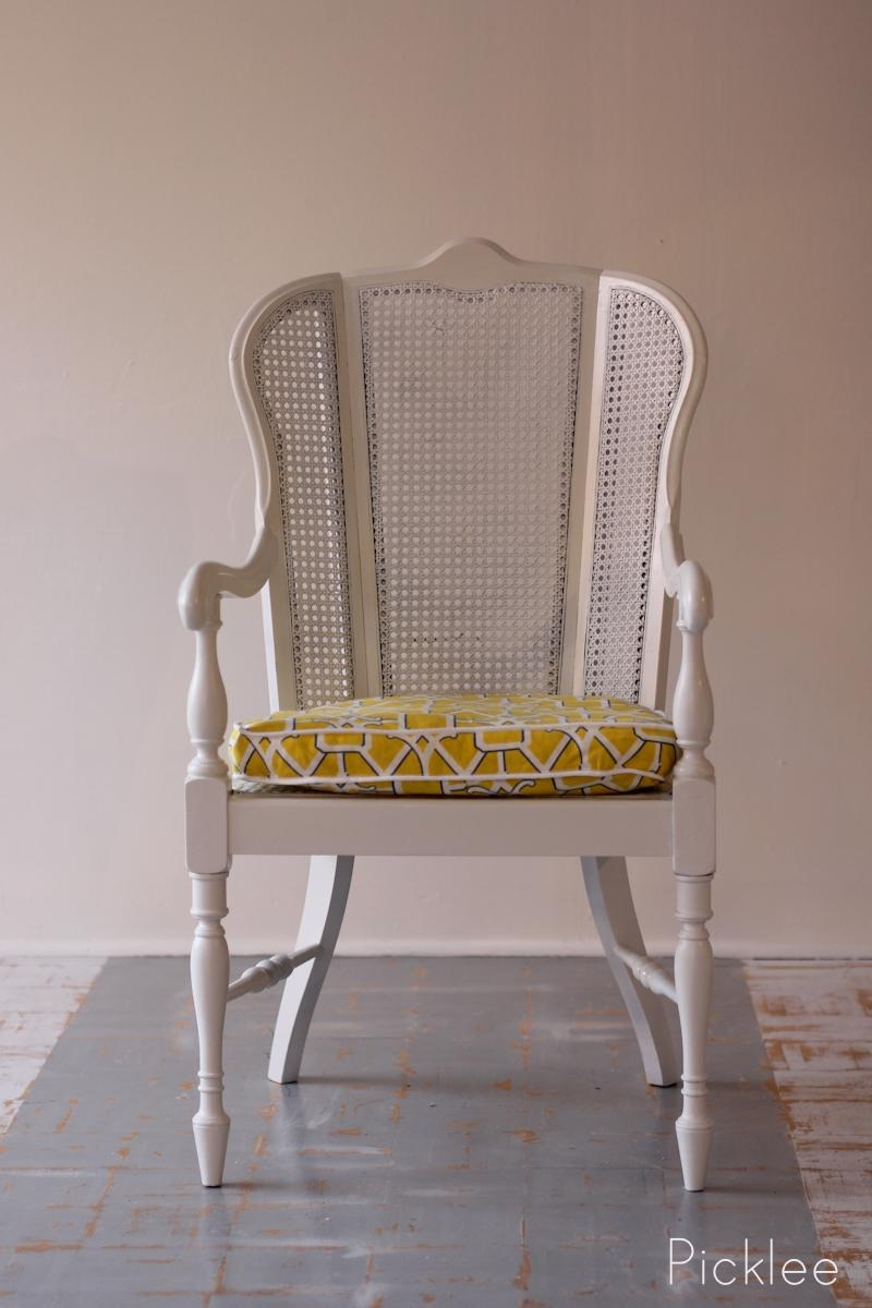 Coastal White Cane Chair Revival [Before & After] – Picklee With White Cane Sofas (Image 5 of 25)