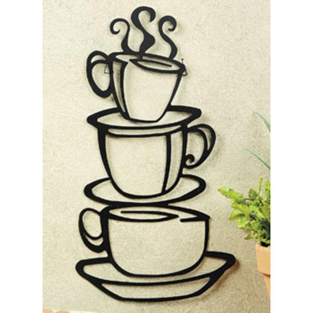Coffee House Black Cup Design Java Silhouette Wall Art Metal Mug Inside Metal Wall Art Coffee Theme (View 7 of 20)