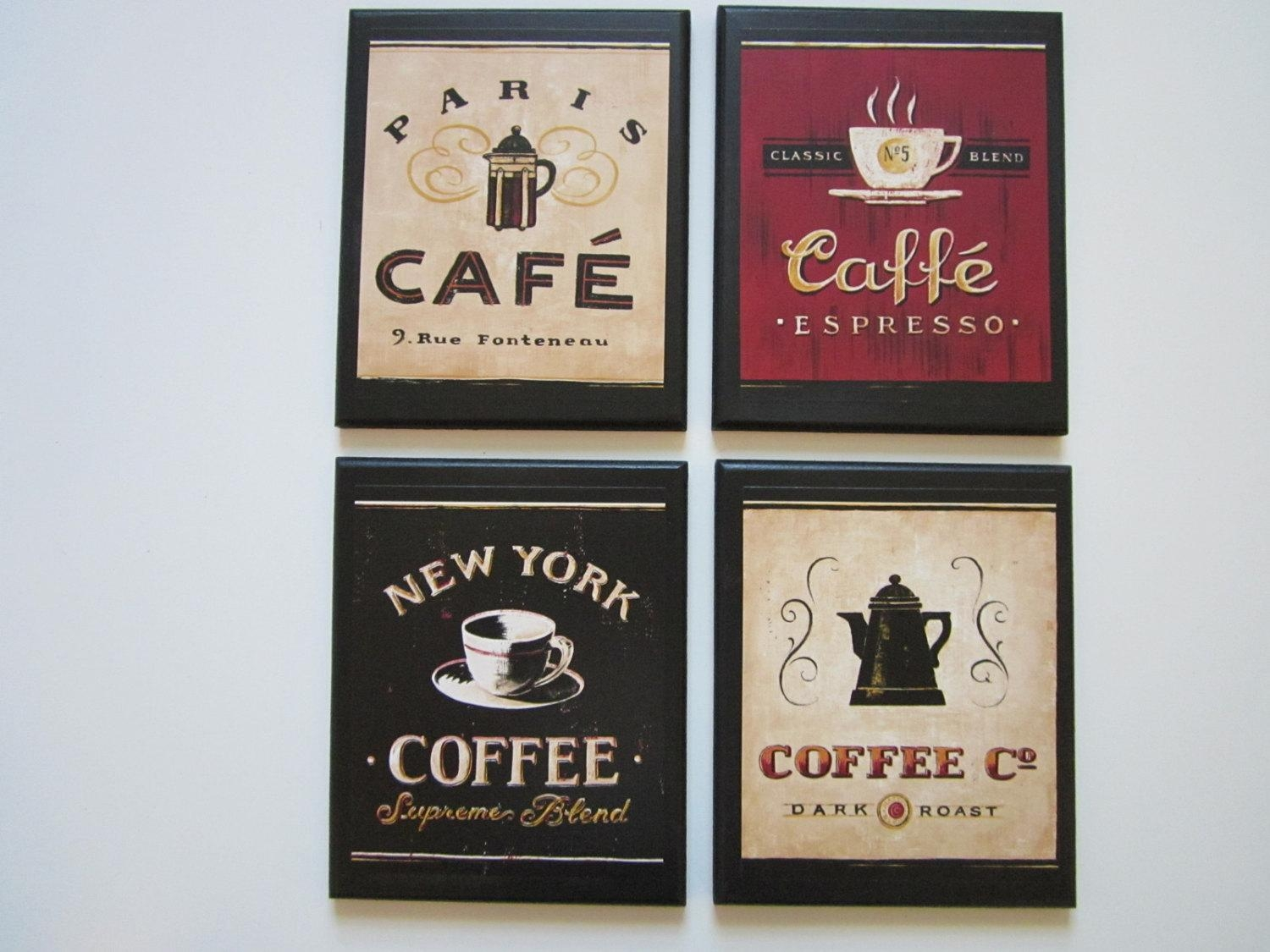 Coffee Shop Plaques 4Pc Country Red Black Beige Kitchen Wall With Regard To Italian Coffee Wall Art (View 2 of 20)