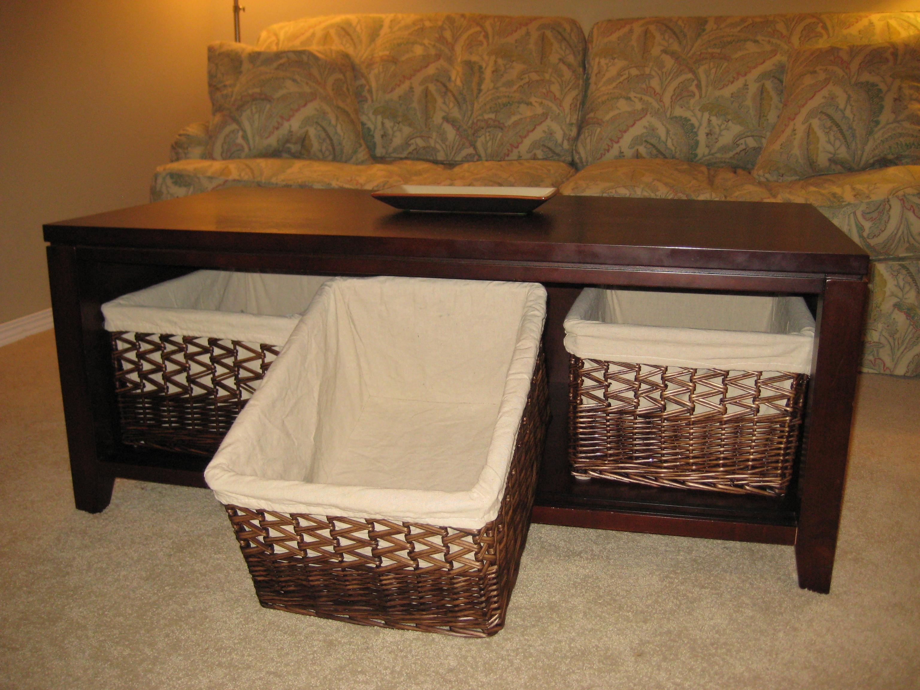 Coffee Table With Baskets For Storage – Thesecretconsul With Regard To Sofa Side Tables With Storages (View 9 of 25)