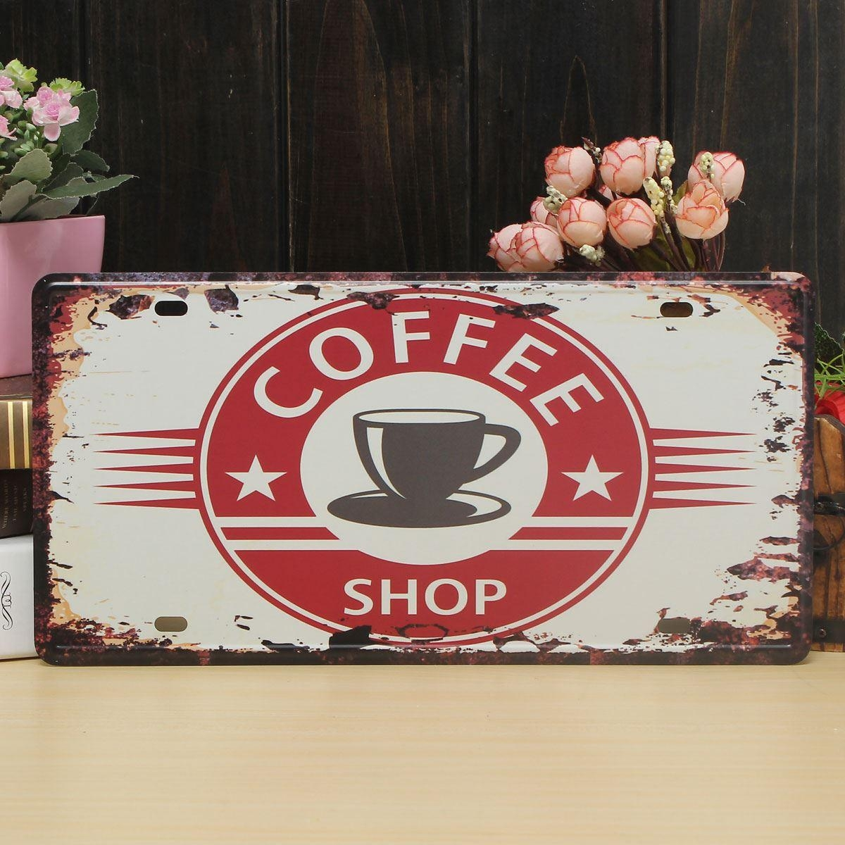 Coffee Theme Vintage Metal Sign The Fresh Brewed Coffee Wall Inside Metal Wall Art Coffee Theme (Image 9 of 20)
