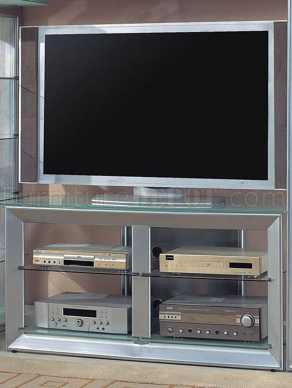 Color Contemporary Tv Stand W/glass Shelves With Regard To Most Popular Silver Tv Stands (View 7 of 20)