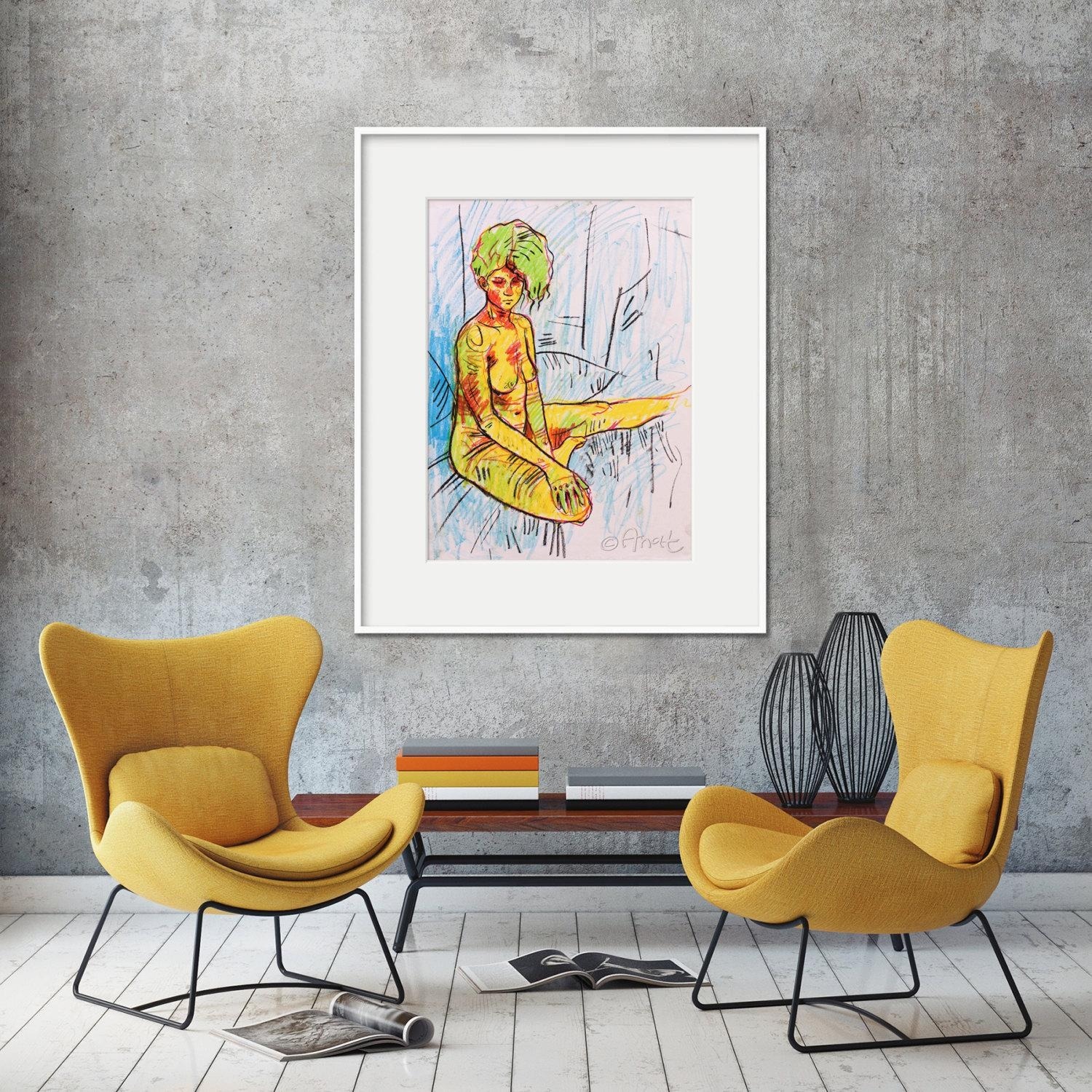 Color Nude Drawing Sexy Painting Naive Art Affordable Art Within Feminine Wall Art (View 20 of 20)