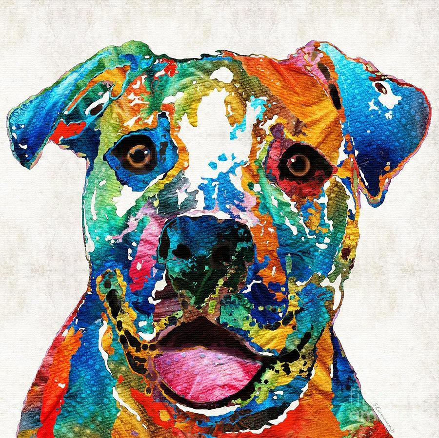 Colorful Dog Pit Bull Art – Happy  Sharon Cummings Painting Intended For Pitbull Wall Art (Image 8 of 20)