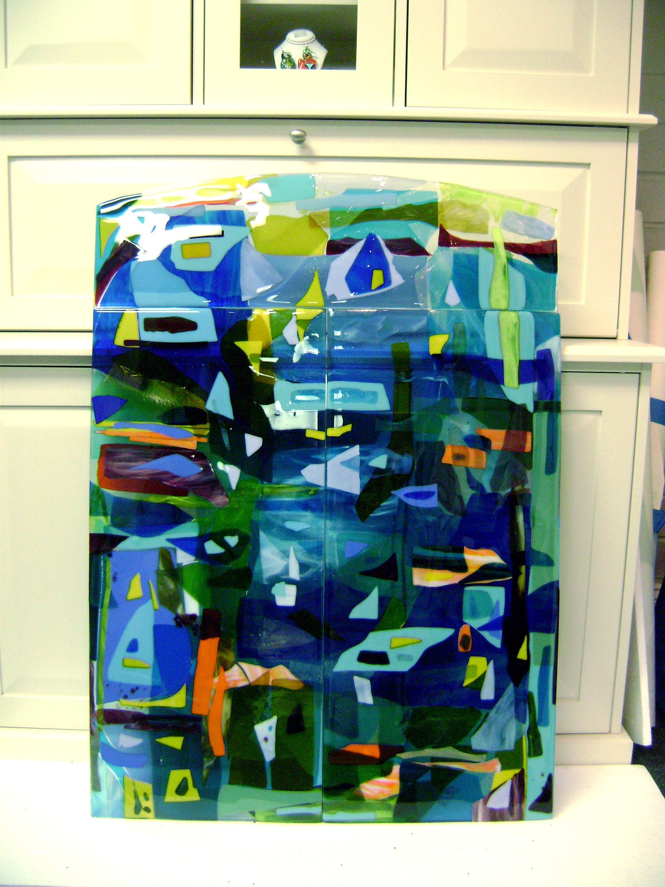 Colorful Fused Glass Wall Art Panel | Designer Glass Mosaics Intended For Large Fused Glass Wall Art (View 8 of 20)